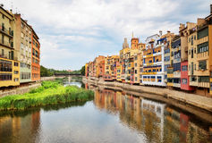 River and picturesque buildings of Girona, Catalonia Stock Photography