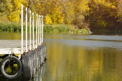 River pier on the background reflected in the water of yellow autumn trees.  royalty free stock photography