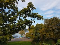 River pier, view from the hill from the forest in autumn royalty free stock image