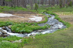 River on the plateau. Baschelak. Mountain meandering river Stock Images
