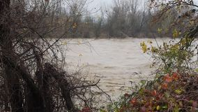 River Po flood in Turin area stock footage