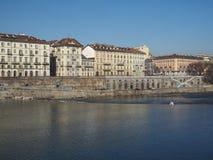 River Po in Turin. Fiume Po meaning River Po in Turin, Italy Stock Photo