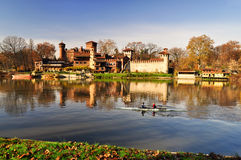 River Po, view of Medieval Castle Stock Image