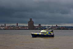 River police boat on patrol Royalty Free Stock Photo