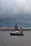 River police boat on patrol Royalty Free Stock Image