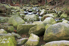 River in the Polish forest. Mountain rocks covered with moss Royalty Free Stock Image