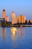 River port and bridge on a river Dnepr Stock Photos