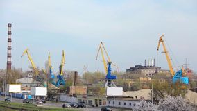 River port. Cranes stock video footage