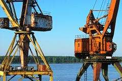 River port cranes Royalty Free Stock Photos