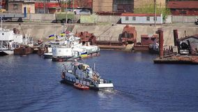 River port. Tugboat in harbour stock footage