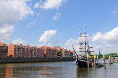 River port and the Weser river in Bremen, Germany Stock Images