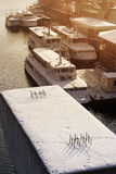 River port in winter Royalty Free Stock Photo