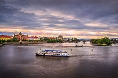 River in Prague in the evening Royalty Free Stock Image