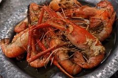 River prawn baked in garlic butter Royalty Free Stock Image