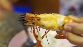 River prawn barbecue. Delicious Sea Food Grill stock video