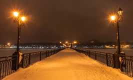 River promenade in Donetsk city on a winter. Royalty Free Stock Photography