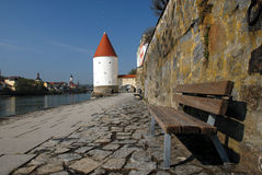 River promenade in Germany stock photography