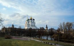 River of Pskov against the Kremlin and Church stock image