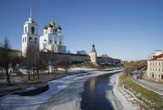The river of Pskov in the early spring. Pskov Stock Images