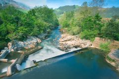 River of Puente Viesgo in Cantabria Royalty Free Stock Image