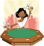The River Queen. Beautiful lady wins a poker hand with two aces and a jack. How lucky stock illustration