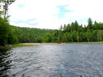 River Rafting. Rafting on a river in Maine Stock Photo