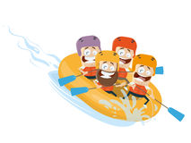 River rafting cartoon clipart vector Royalty Free Stock Photography