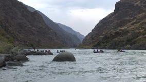 River rafting Hells Canyon Snake River Idaho stock video