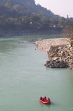 River rafting in Indian holy place Rishikesh Royalty Free Stock Photography