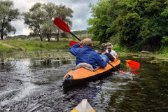 River rafting kayaking editoal Stock Image