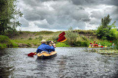 River rafting kayaking editoal Royalty Free Stock Images