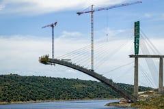 River Railway Bridge Under Construction in Spain Royalty Free Stock Image