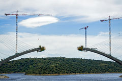 River Railway Bridge Under Construction in Spain Stock Photos