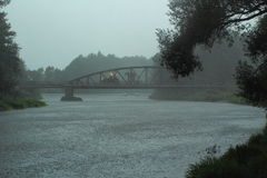 River in rain Royalty Free Stock Photography