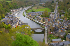 River Rance, Dinan. Tilt shift image of Dinan on the banks of the Rance River, France Stock Photos