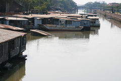 River in Rangsit, Thailand. Houses riverside in Rangsit, Thailand Stock Images