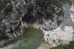 River. Rapid current. Mountain river. Current of water. River current. Water. Transparent mountain river. Der Bergfluss sehr durchsichtig die schönen Stellen Royalty Free Stock Photos