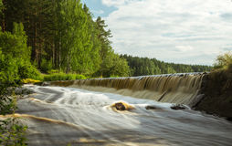 River with rapid current in summer, Stock Photo
