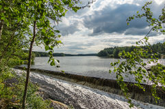 River with rapid current in summer, Royalty Free Stock Images