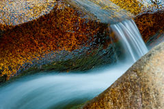 River rapid shoot. A nice abstract composition of a river flow at dusk with very saturated colors in La Pedriza, Spain royalty free stock photo