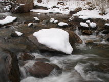 River Rapids. Blurred river rapids after a winter snow Stock Photography