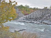 White water rapids and fall colors Royalty Free Stock Images