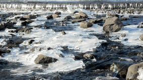 River rapids with rocks and icy patches stock video footage