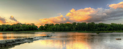 River Rapids Sunset Royalty Free Stock Photography