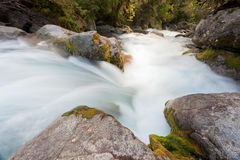 River rapids washing over rocks with silky look Royalty Free Stock Photography