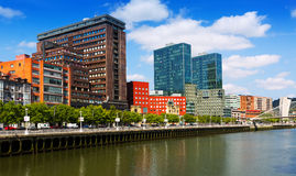 River and residential skyscrapers. Bilbao, Spain Stock Images