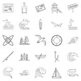 River rest icons set, outline style. River rest icons set. Outline set of 25 river rest vector icons for web isolated on white background Stock Images