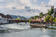 River Reuss and Spreuer Bridge, Lucerne, Switzerland Royalty Free Stock Photos