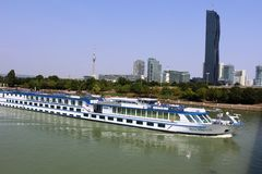 River Rhapsody cruise boat on Danube, Vienna Stock Photos