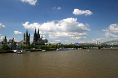 River Rhine and cathedral of Cologne Royalty Free Stock Images